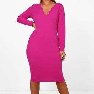Hot Pink Bodycon Midi Dress w/ Scallop Detailing